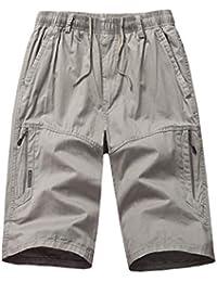 0b931df4 Fyou Men Summer Fashion Cotton Casual Gargo Pants Washed Calf-Length Pants