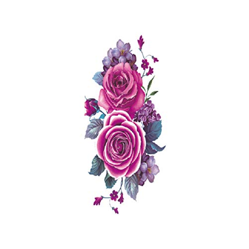 Kostüm Trio Frauen - tzxdbh 7 Stücke-Blume Tattoo Aufkleber Damen Brust Bauch Kostüm Studio Rose Pfirsich Pfingstrose Tattoo Aufkleber TBX-9032 90 * 190 MM