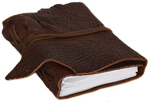 Notizbuch Gusti Leder \'\'Lola\'\' DIN A6 Edles Chices Leder-Accessoire Blanko | Nachfüllbare Seiten | Recyclebar | Braunes Büffelleder | Glattes Elegantes Leder - 2P6-24-2