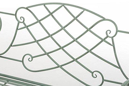 CLP Nostalige Metall-Gartenbank SELENA im Landhausstil, aus lackiertem Eisen, 109 x 43 cm – aus bis zu 6 Farben wählen Antik Grün - 5