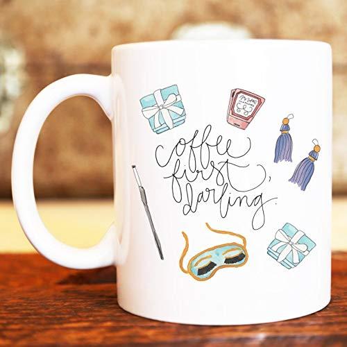 EstherBur87 Kaffee erste Liebling Fr¨¹HST¨¹ck bei Tiffanys Audrey Hepburn Illustrated Keramik Kunststoff Travel Coffee Mug Cup Drink