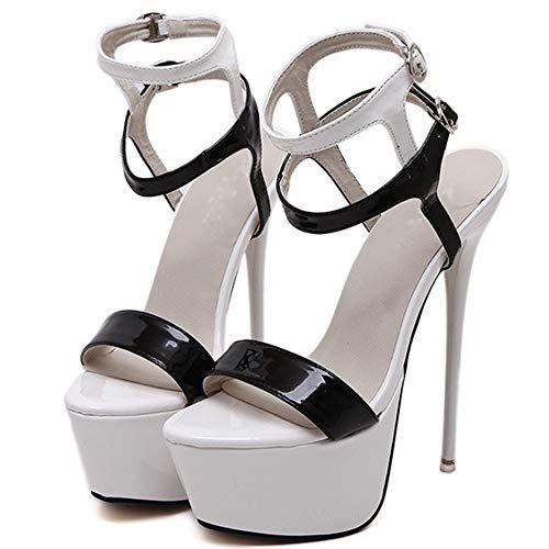 NDHSH Frauen Stiletto Extreme High Heel Sandalen Sexy Peep Toe Plattform Lackleder Knöchelriemen Hochzeit Party Club Kleid Schuhe,White-41 - Sexy High Heels Plattform