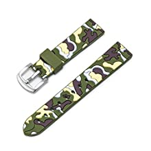 Ullchro Silicone Watch Strap Replacement Rubber Watch Band Waterproof Camouflage Military Men Women - 18mm, 20mm, 22mm, 24mm Watch Bracelet with Brushed Stainless Steel Buckle (20mm, Green&Yellow)