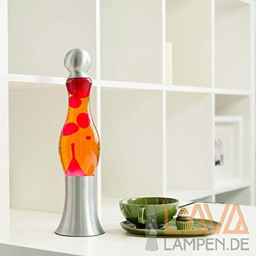 Exotische Lavalampe Michi Flüssigkeit Orange Wachs Rot 42cm hoch Lavalampe