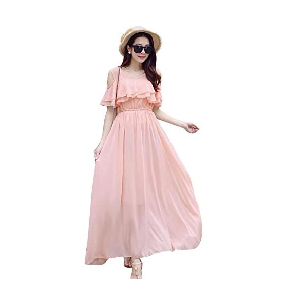 Aashish Garments Peach Cold Shoulder Ruffle Net Women Maxi Dress