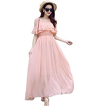Aashish Garments Peach Cold Shoulder Ruffle Net Women Maxi Dress (pech-Cold-sholdr-Maxi-DRS-XS)