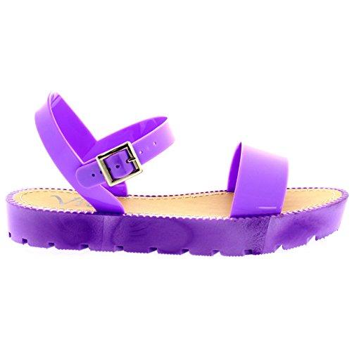 Damen Flatform Schnalle Urlaub Festival Peep Toe Fesselriemen Sandale Flieder