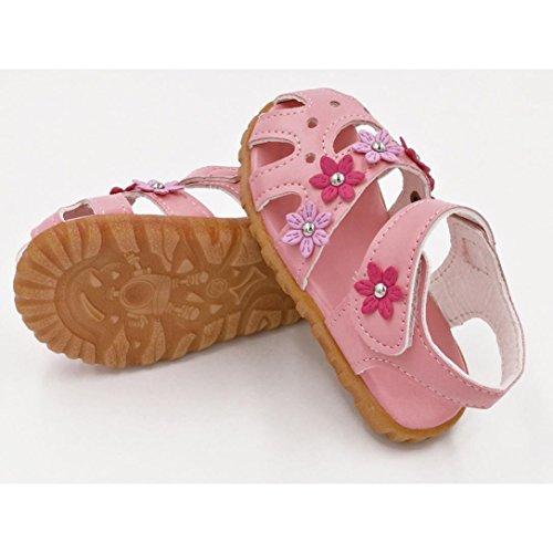 Janly Kinder Mode kausale Sommer flache Blume weiche Unterseite Mädchen Sandale Schuhe Rosa