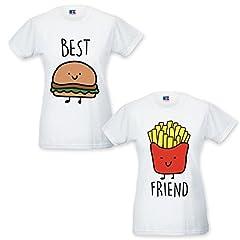 Idea Regalo - Coppia di T Shirt Magliette You And Me Best Friend Hamburger e Patatine Bianche Donna Best XS Donna Friend XS