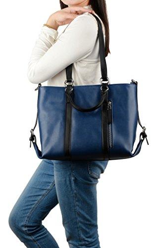 Yaluxe Donna pelle Laptop Lavoro Borse a spalla Shopping Borse a tracolla Blu-cintura nera