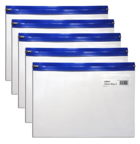 snopake-zippa-bag-zipperbeutel-a4-325x235mm-5-stuck-transparent-blau