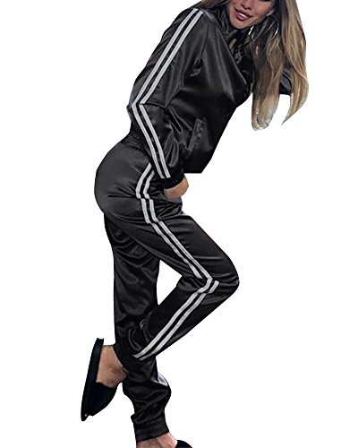 Minetom Damen Sportanzüge Jogginganzug Sexy Satin Reißverschluss Jacke Mantel Beiläufig Streifen Fitness Hose Freizeithose 2 Stück Schwarz DE 34