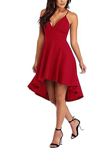 y Cutout & Lace Zurück unregelmäßigen Saum Kleid Sommerkleid Lässiges Knielang Elegantes V-Ausschnitt Partykleid Rot EU48 (Cut Out Zurück Kleid)