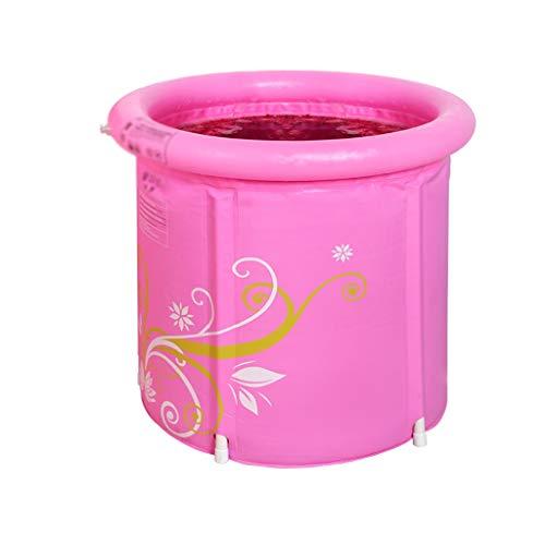 Kjz-bathtub Erwachsenes Badebecken, Schwimmen der Haushaltskinder und Badeeimer-Urlaubsreise-faltende Badewanne Multifunktionshaustier-Duschzylinder (Color : Pink, Size : 65 * 68CM) -