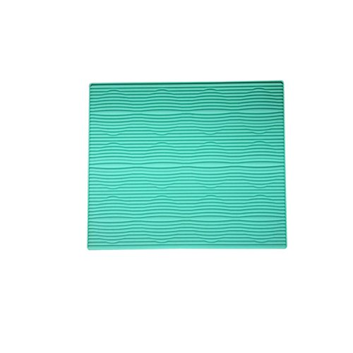 Tapete de cocina plegable de silicona para escurrir platos, alfombrilla de escurridor, accesorio para fregadero, antideslizante, rectangular, 39,4 x 30,5 cm azul claro