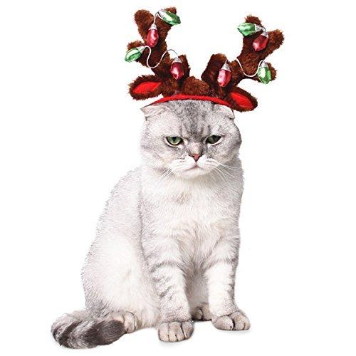 Bwogue Hund Rentier Geweih Stirnband Katze Urlaub Weihnachten Kostüm Outfits Hund Mütze Kopfbedeckung (Hunde Urlaub Weihnachten Kostüm)