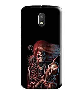 Hi-Me Designer Phone Back Case Cover Moto E3 Power :: Motorola E3 Power-2016 ( Love Tranz Music Play on Skull )