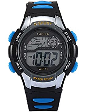W-F71 Armbanduhr - Lasika Kind Kind Schwimmen Sport Digital Armbanduhr w-F71 30M wasserdichte (schwarz + blau)