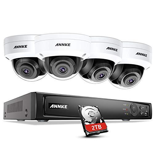 ANNKE 8MP POE Videoüberwachung Set, 8CH 4K POE NVR Rekorder Überwachungssystem mit 2TB Festplatte + 4 x 8MP IP Kameras für Innen Außen, Bewegungserkennung