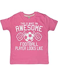 This What an Awesome Football Player Looks like Bubblegum Pink Girl's T-shirt with a White Glitter Print,Edward Sinclair T-shirt