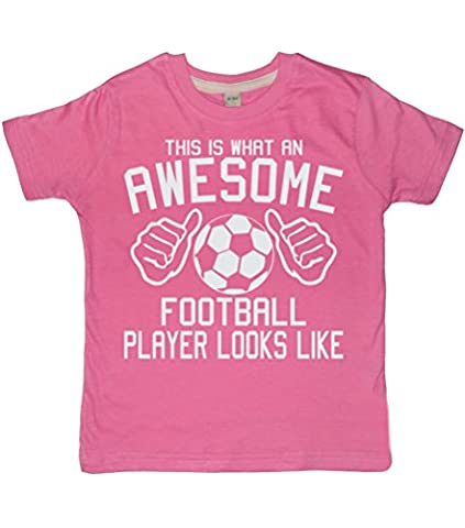 THIS WHAT AN AWESOME FOOTBALL PLAYER LOOKS LIKE Bubblegum Pink Girl's T-shirt In Size 12-13 Years With A White Glitter Print. EDWARD SINCLAIR T-SHIRT