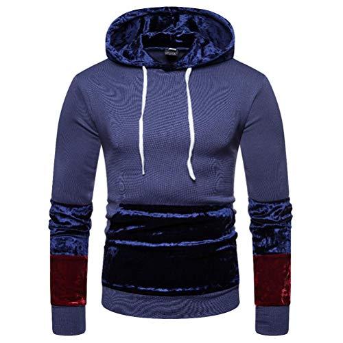 Quaan Herbst Winter Herren Spleißen Tasche zur Seite Fahren Lange Ärmel mit Kapuze Sweatshirt Oberteile Bluse Jacke Mantel Outwear Warm Windjacke Pelz Baumwollmantel Büro draußen