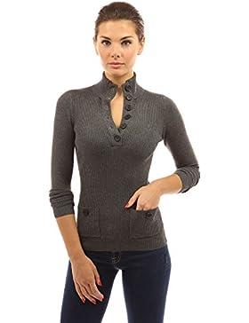 PattyBoutik Mujer v botón del cuello del suéter acanalado