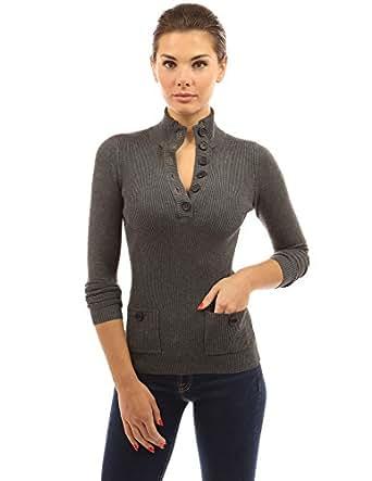 PattyBoutik Damen V-Ausschnitt Pullover mit Knöpfen gerippt (dunkelgrau meliert 44/L)