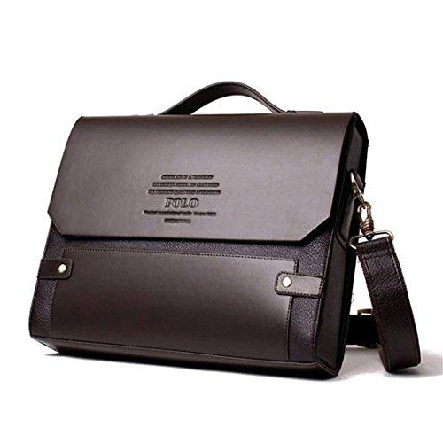 Wewod Herren Vintage Businesstaschen Herrentaschen Hohe Qualität PU Leder Umhängetasche für Männer Magnetic Buckle Aktentasche (Schwarz)