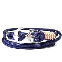 HanseCharms - Maritimes Surfer Anker Armband-Typ III aus den USA-Armband-Verstellbar-Unisex-Wickelarmband-Geschenk-Midnightblue Typ III + Neon Orange u. Weiß - Micro Cord