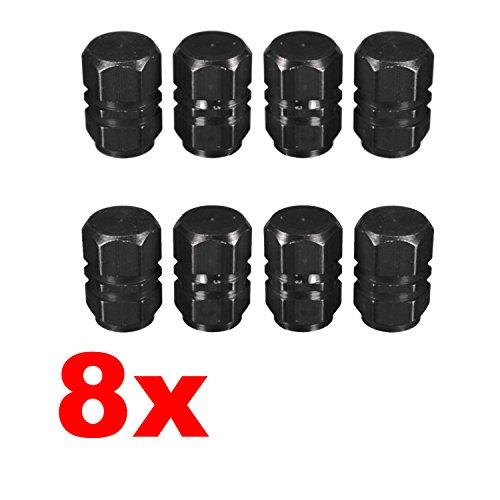 Adatech 8 x Tapones para válvula. Tapones para rueda coche, moto. Tapones para válvula de neumático. Color Negro