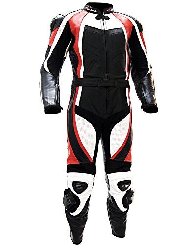 Tschul Lederkombi Motorradbekleidung Biker Anzug Zweiteiler Motorradkombi Schwarz/Weiß, Size: 50