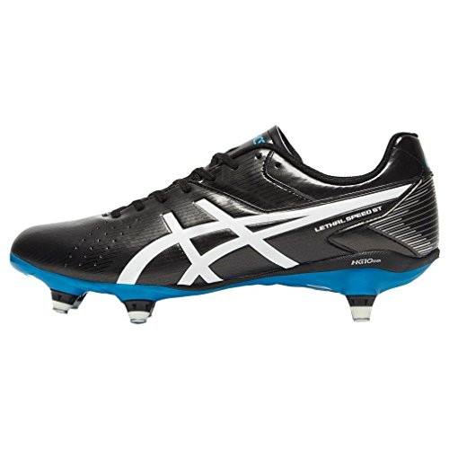 ASICS Lethal Speed St - Scarpe da Rugby Uomo, Nero (black/white/methyl Blue 9001), 44 1/2 EU Black