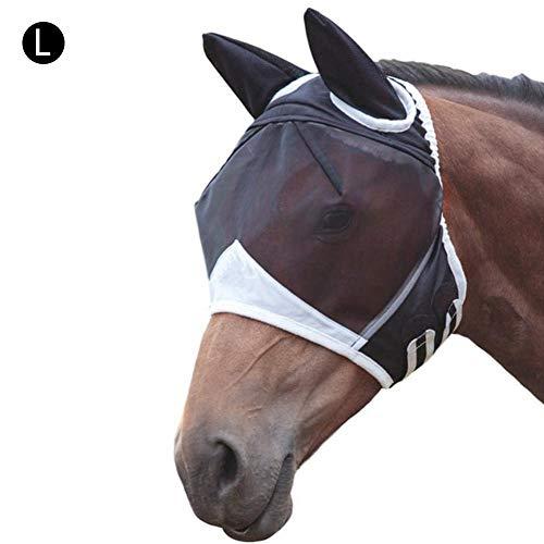 Maschere Protettive per Cavalli Maschera Antimosche Maschera da Cavallo Traspirante Confortevole con Anti Zanzare Dellorecchio per Cavallo