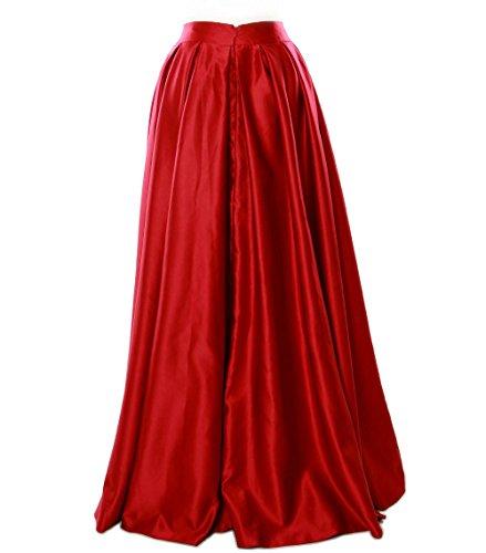 MACloth Women Long Satin Prom Party Formal Evening Dress Skirt Fuchsia