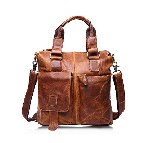 90ac380185b1 Mens Crazy Horse Leather Briefcase Leather Ipad Bag Messenger Bags  Brown  Color
