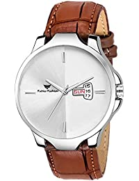 Fadiso fashion FF2033-WH BR Leather Strap Day & Date