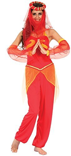 Sexy Da Donna Rosso Danzatrice Del Ventre Arabo intorno al mondo Costume Travestimento UK 10-12-14
