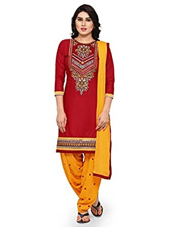 Kvsfab Women's Cotton Dress Material (KVSSK4860KAR_2_Free Size_Maroon)