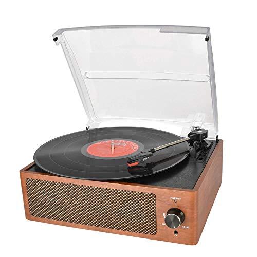 Vinyl Plattenspieler, Bluetooth tragbaren Vinyl Plattenspieler Schallplattenspieler mit 3-Gang 33/45/78 U / min und Eingebauter 2 Stereo Lautsprechern- natürliches Holz - Plattenspieler Holz Vinyl