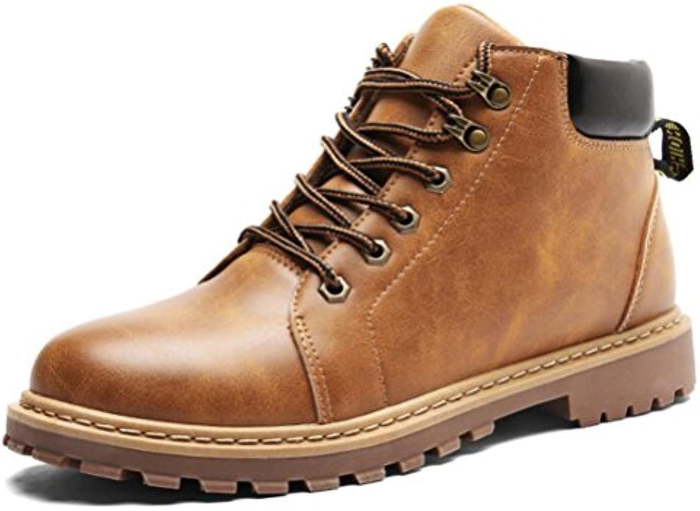 Easemax Herren Modisch High Top Profilsohle Lace Up Schnürhalbschuhe Ankle Boots