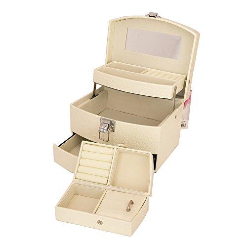 Schmuckschatulle Schmuckkästchen Schmuckkoffer Schmuckkasten mit Spiegel Box Schmuck Aufbewahrung weiß #1129