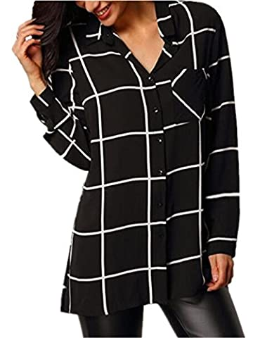 Tayaho Pull-over Femme Classique Patchwork Manches Longues Rayures Carreaux Chemise Blouse Casual Tops