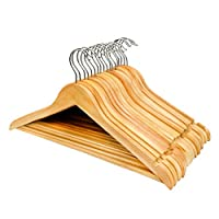 ZYBUX - Pack of 20 Grade A Strong Premium Wooden Coat Hangers with Round Trouser Bar and Shoulder Notches