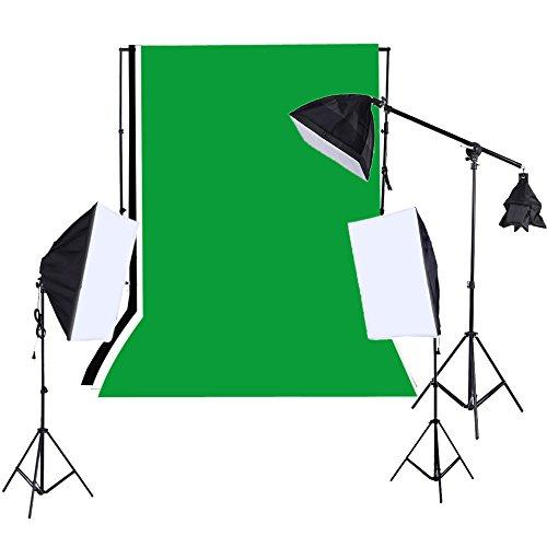 Andoer 1215W Softbox Lighting Kit Studio del contesto del basamento Verde Bianco Nero Sfondo 135W lampadine Softbox sbalzo Stick