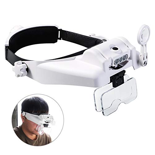 Lighted Head Magnifier With Detachable LEDs, Handsfree Reading Head Magnifying Glasses Visor Headset Helmet Magnifier Loupe for Close Work/Sewing/Crafts/Reading/Repair/Jewelry Making (1X to 14X) Padded Lens