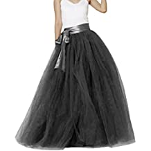 Wedding Lady - Falda de tul para mujer, longitud hasta el suelo, con lazo