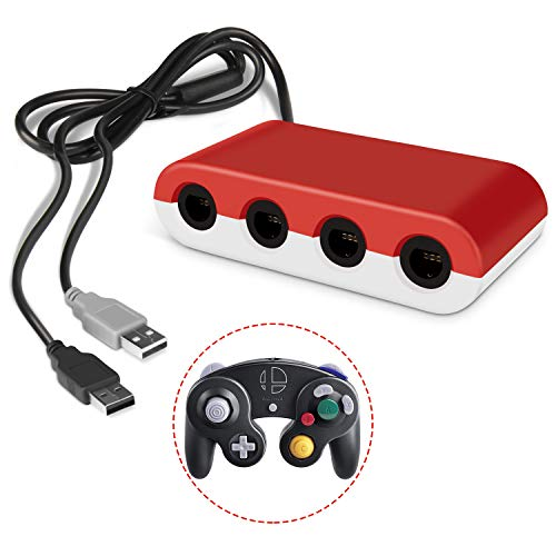 innoAura Gamecube Controller Adapter Gamecube Adapter Super Smash Bros mit 4 Ports für Nintendo Switch, Wii U und PC USB (Schwarz)