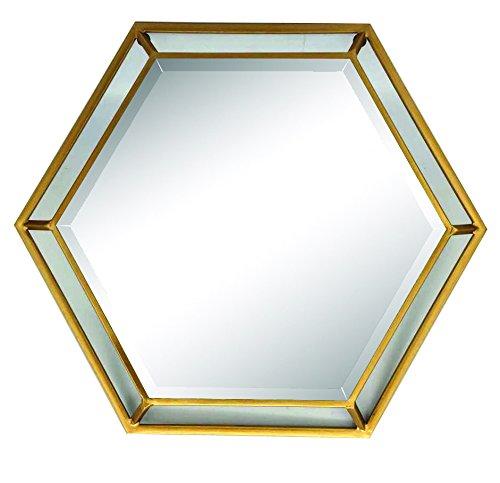 Home Source Wandspiegel, sechseckig, goldfarben -
