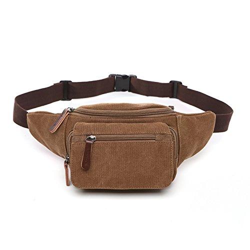Outreo Marsupio Moda Borse da Viaggio Sport Bag Borsa da Uomo Tasca Outdoor Marsupi a Fascia Borsello Vintage Sacchetto per Escursioni Trekking Marrone